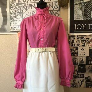 Vintage 80s Barbie-pink Ruffle Top